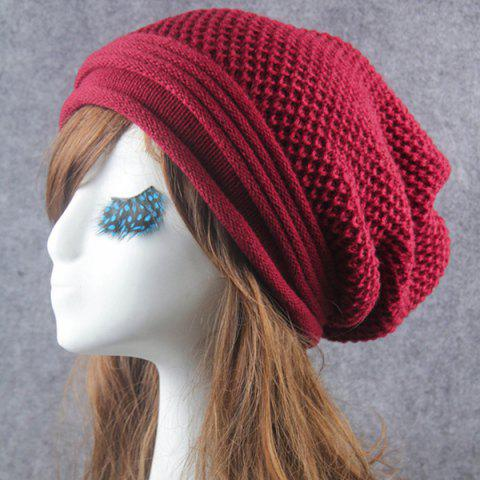 Trendy Openwork Crochet Slouchy Acrylic Knit Beanie Hat - CLARET  Mobile