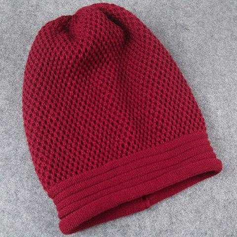 Shop Openwork Crochet Slouchy Acrylic Knit Beanie Hat - CLARET  Mobile