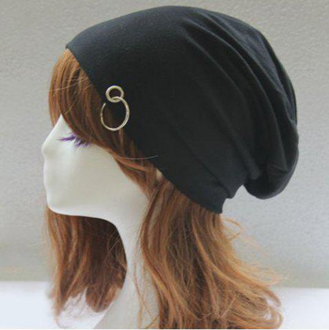 Shops Metal Circle Hoop Embellished Double-Deck Slouchy Beanie - BLACK  Mobile