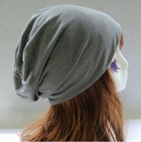 Outfit Metal Circle Hoop Embellished Double-Deck Slouchy Beanie - GRAY  Mobile