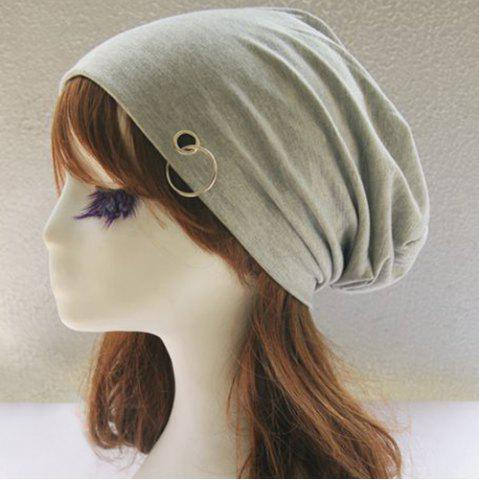 Fancy Metal Circle Hoop Embellished Double-Deck Slouchy Beanie - LIGHT GRAY  Mobile
