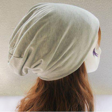 Store Metal Circle Hoop Embellished Double-Deck Slouchy Beanie - LIGHT GRAY  Mobile