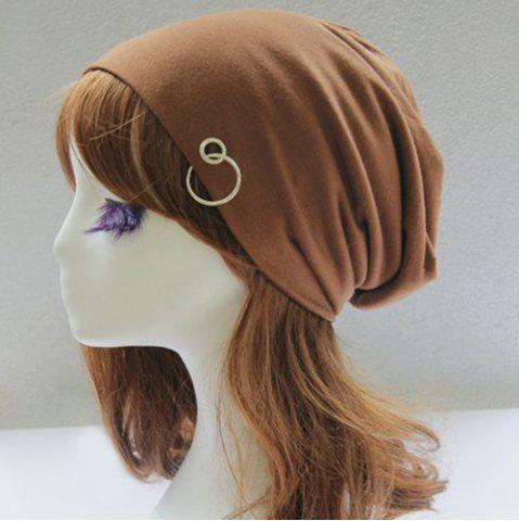 Buy Metal Circle Hoop Embellished Double-Deck Slouchy Beanie - LIGHT COFFEE  Mobile