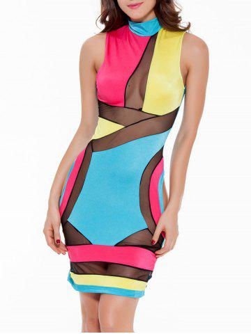 Latest Mock Neck Mesh Panel Colorful Club Dress BLUE+YELLOW+RED L