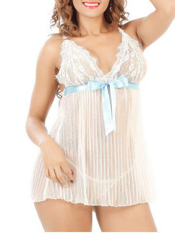 Sale Laciness Bowknot Pleated Babydoll - 3XL WHITE Mobile