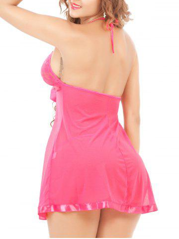 New Halter Neck See-Through Mesh Lace Babydoll - 6XL ROSE MADDER Mobile