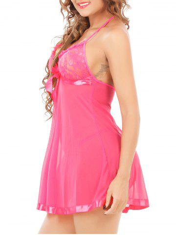 Outfits Halter Neck See-Through Mesh Lace Babydoll - 6XL ROSE MADDER Mobile