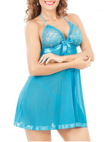 Outfit Halter Neck See-Through Mesh Lace Babydoll - 2XL LAKE BLUE Mobile