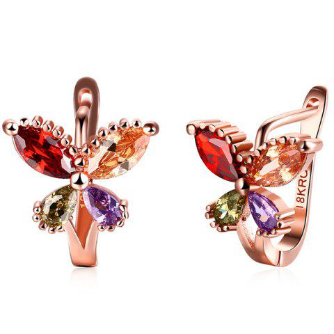 Outfits Polished Rhinestone Butterfly Earrings