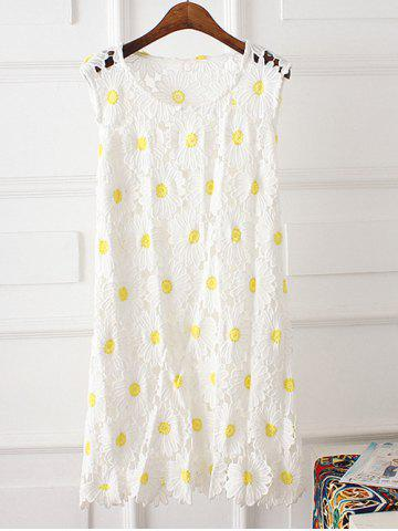 Affordable Floral Lace Plus Size Dress WHITE 2XL