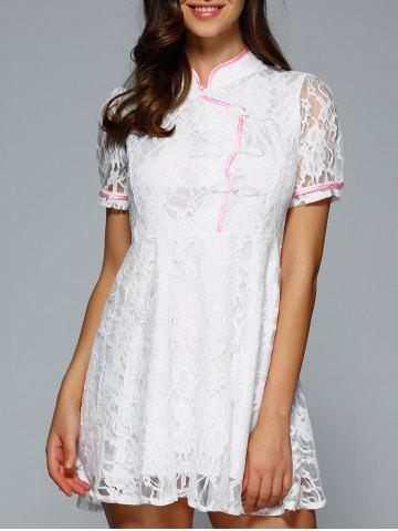Outfits Mandarin Collar Short Sleeves Lace Dress WHITE M