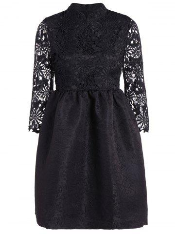 Store Cutwork Jacquard A Line Lace Dress BLACK M