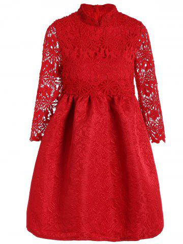 Shops Cutwork Jacquard A Line Lace Dress RED M