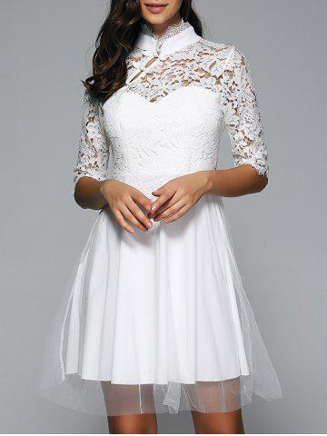 Online Half Sleeves Laciness Cutwork Dress WHITE L