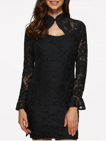 Discount Lace Fitted Short Cocktail Dress with Flare Sleeves BLACK S