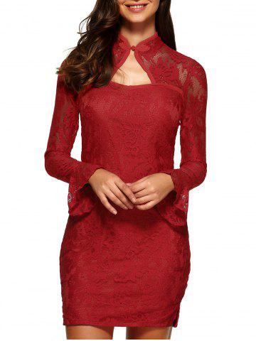Affordable Lace Fitted Short Cocktail Dress with Flare Sleeves RED L