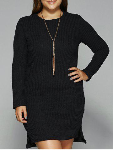 Outfit Long Sleeve High Low Mini Sweater Dress BLACK 2XL