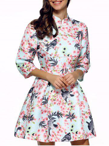Cheap 3/4 Sleeves Birdie and Floral Print Dress