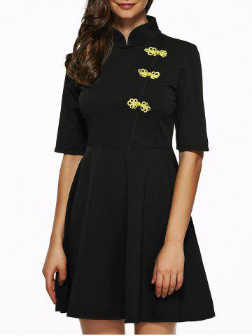 Hot Mandarin Collar Half Sleeves Flare Dress BLACK S