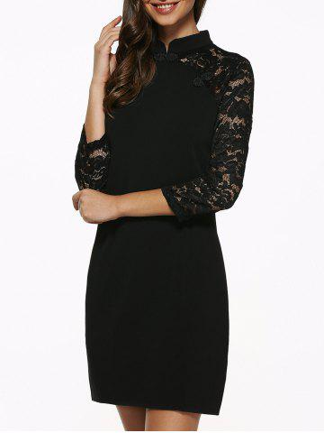 Store Raglan Lace Sleeve Fitted Mini Dress BLACK XL