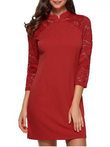 Raglan Lace Sleeve Fitted Mini Dress - RED S