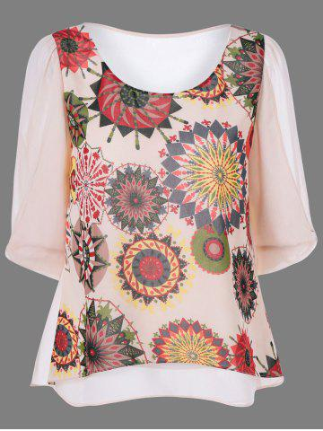Fancy Abstract Print High Low Hem Blouse