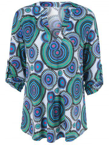 Hot Adjustable Sleeve Round Print Tunic Blouse