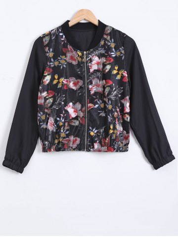 Unique Stand Collar Floral Print Textured Jacket