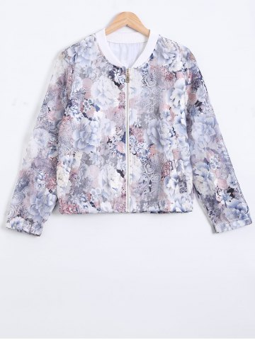 Unique 3/4 Sleeves Floral Pattern Mesh Jacket