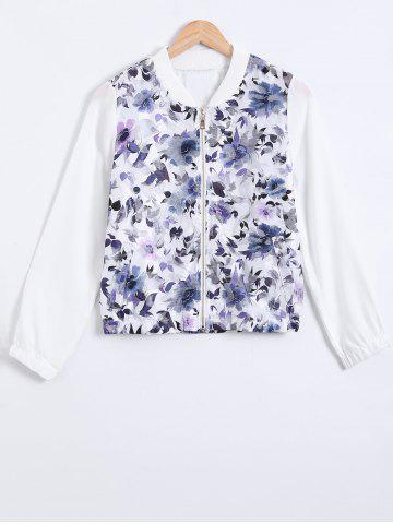 Trendy Stand Collar Mesh Printed Zipped Jacket