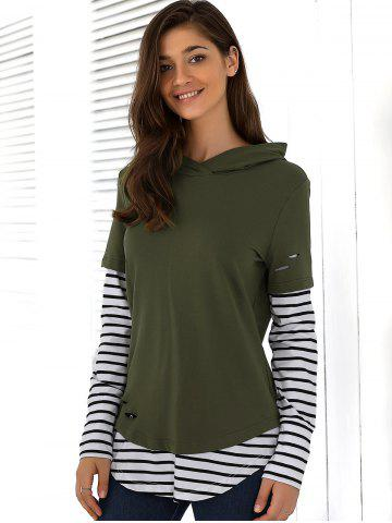 Shops Striped Ripped Hoodie - L ARMY GREEN Mobile
