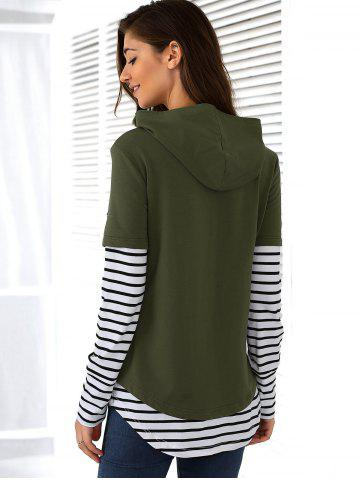 New Striped Ripped Hoodie - L ARMY GREEN Mobile