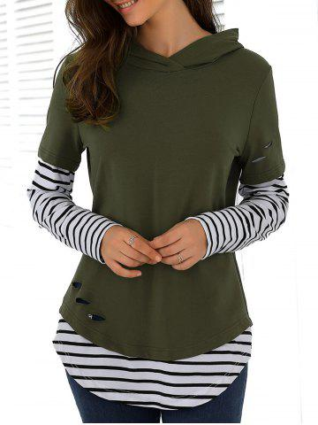 Striped Ripped Hoodie - ARMY GREEN M