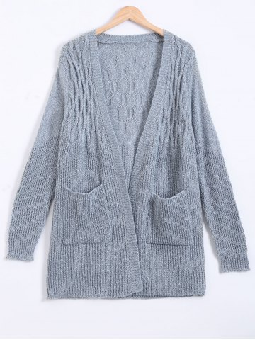 Front Pockets Back Pattern Ribbed Long Sweater Cardigan