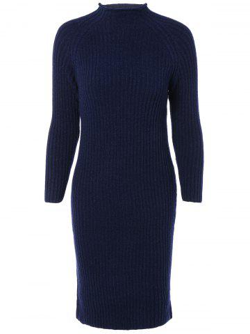 Shops Long Sleeves Ribbed Bodycon Knitted Dress