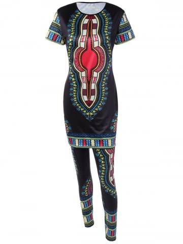 Unique Ethnic Style Printed T-Shirt and Skinny Pants