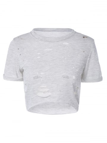 Store Ripped High-Low Cropped T-Shirt GRAY S