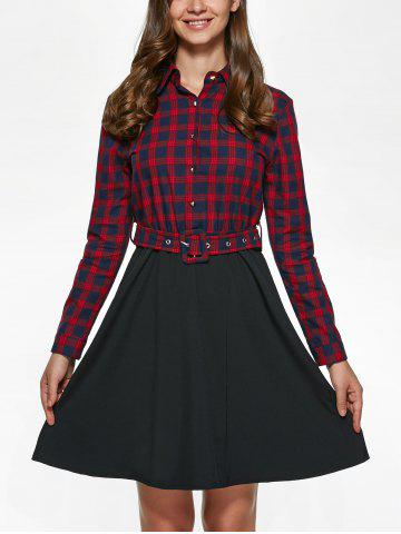 Unique Long Sleeve Plaid Splicing Shirt Dress - S RED WITH BLACK Mobile