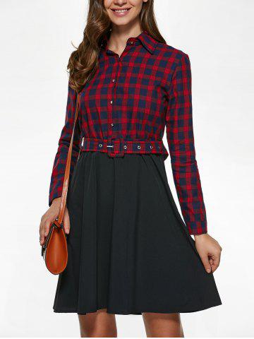 Long Sleeve Plaid Splicing Shirt Dress - Red With Black - S