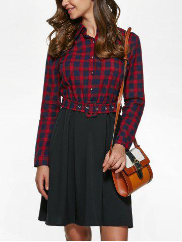 Chic Long Sleeve Plaid Splicing Shirt Dress - S RED WITH BLACK Mobile