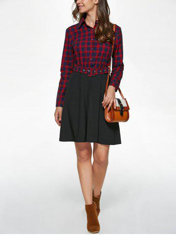 Outfits Long Sleeve Plaid Splicing Shirt Dress - S RED WITH BLACK Mobile