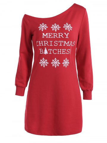 Skew Neck Christmas Long Sleeve Dress - RED L