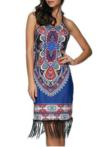 Outfits Printed Fringed Sheath Dress