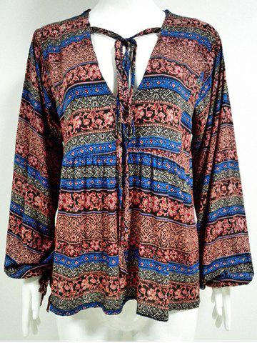 Fashion Drawstring V Neck Tribal Blouse PLUM M
