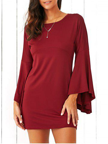 Chic Flare Sleeve Fitting A-Line Dress CLARET M