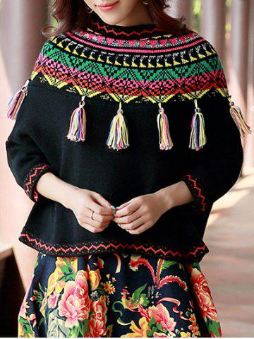 Discount Geometric Print Tassels Sweater