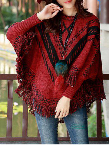 Latest Fringed Printed Cape Sweater