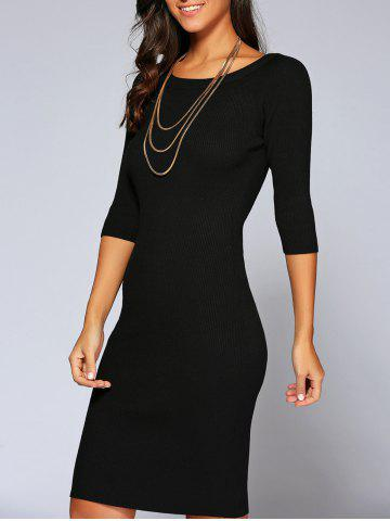 New Concise 3/4 Sleeve Close-Fitting Knit Dress