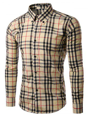 Discount Checked Long Sleeve Button-Down Shirt