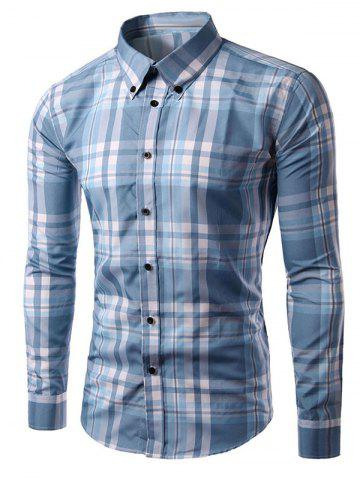 Shop Long Sleeves Plaid Button-Down Shirt LIGHT BLUE 2XL